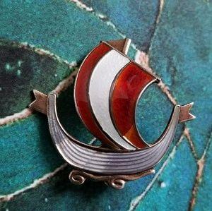 Vintage Viking ship brooch Norway Sterling Enamel